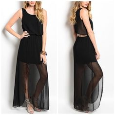NWT Open Back Chiffon Maxi Dress ✔️NWT ✔️ Fast response  ✔️ 15% off bundles 🚫 No low ball offers  🚫 Not from listed brand 🔹 Boutique item  ✔️Great quality of material  🔹This Item may or may not include a tag but is brand new Nasty Gal Dresses Maxi