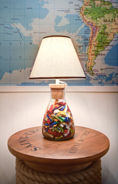 Mary McNelis Interiors. Great idea for leftover lego pieces in playroom! Neat Lamp. -via Interior Canvas.
