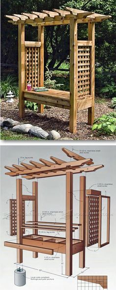 Arbor Bench Plans - Outdoor Furniture Plans and Projects Outdoor Furniture Plans, Woodworking Furniture Plans, Woodworking Projects That Sell, Kids Woodworking, Teak Furniture, Furniture Design, Outdoor Projects, Wood Projects, Arbor Bench