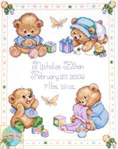 Design Works Baby Bear S Ler Birth Record Cross Stitch World
