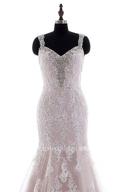 Mermaid Mini Straps V-Neck Bell Cap Beading Appliques Court Train Backless Straps Lace Dress