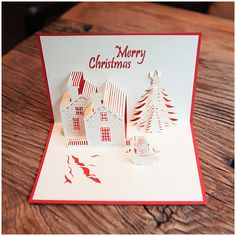Wholesale Creative Christmas Handmade 3D Cards Pop Up Holiday Greeting Gifts