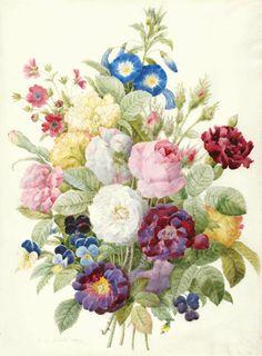 """Pierre-Joseph Redouté (1759–1840), """"Bouquet of flowers,"""" watercolor on vellum, 1839."""
