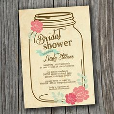 bridal shower invitation printable custom diy wedding vintage mason jar