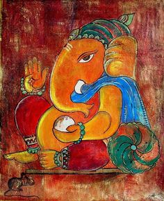 Lord Ganesh Acrylic Mixed Medium by onlinepaintingshop on Etsy, £55.00