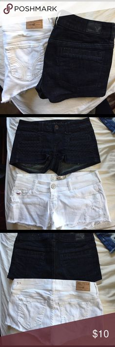 Shortie shorts bundle White shorts- hollister size 3. Blue shorts- American eagle size 2. BOTH 98%cotton 2% spandex. Never worn, same waist (26) on both Shorts