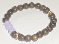 Graywood Beaded Bracelet with Milky Lavender Czech by rockstarsz, $17.99