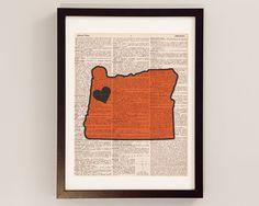 Vintage Oregon State Print  Corvallis Oregon Art  by DictionArt, $10.00