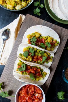 A new take on the traditional Punjabi dish of Aloo Matar, this recipe deconstructs the ingredients and reassembles them on a tortilla.