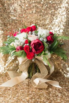 Christmas inspired bouquet by Hey Gorgeous Events, photo by Bradley James…