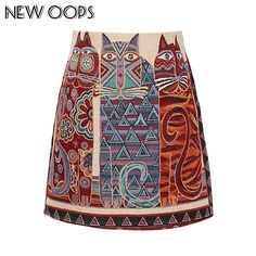 NEW OOPS Retro Owl Cat Printed Mini Skirts 2017 Women Boho Vintage Folk Ladies Basic Slim Skirt Fashion Femininas Saias A1608039