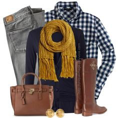 Navy Top, Mustard Scarf by uniqueimage on Polyvore featuring J.Crew, American Eagle Outfitters, Tory Burch, MICHAEL Michael Kors, Chanel, women's clothing, women's fashion, women, female and woman