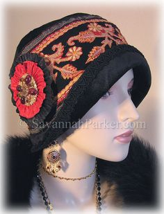Antique Style 1920s Gatsby Flapper Downton Abbey Cloche - Black Silk Velvet Ruby Red Jewels Embroidery