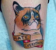 A Grumpy Cat tattoo. Not amused.