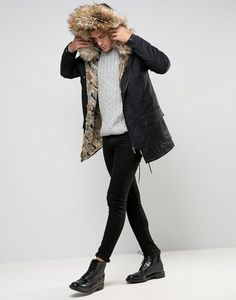 River Island Parka With Fur Lining And Hood In Black