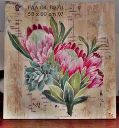 Protea Art, Protea Flower, Apple Pro, Farm Paintings, King Protea, South African Art, King Art, Canvas Crafts, Watercolor Flowers