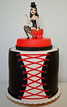 Burlesque Cake - Cake by Albena Nacheva Adult Birthday Cakes, Birthday Cakes For Women, 25th Birthday, Crazy Cakes, Fancy Cakes, Gorgeous Cakes, Amazing Cakes, Fondant Cakes, Cupcake Cakes