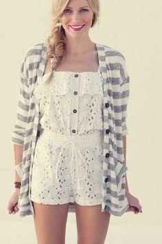 Pair a romper with a big sweater for summer or fall.