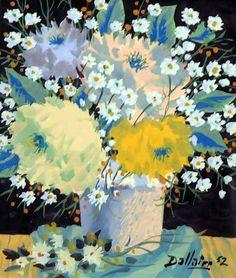 Jean DALLAIRE - Nature morte au pot de fleurs (1952) Art Inspo, Colourful Art, Canada, Sculpture, Black Backgrounds, All The Colors, Still Life, Bouquets, Art Gallery