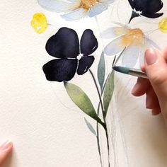 Flower Drawing Discover Modern flowers art Home decorations Art Floral, Motif Floral, Watercolor Paintings For Beginners, Watercolor Video, Watercolor Artists, Watercolour Drawings, Watercolor Art Paintings, Watercolor Portraits, Oil Paintings