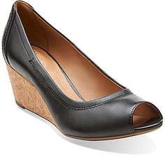$99, Black Leather Wedge Pumps: Clarks Burmese Art. Sold by shoes.com. Click for more info: https://lookastic.com/women/shop_items/202797/redirect