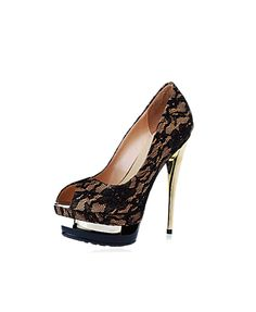 chicnovaSuede Peep Toe Platform High Shoes with Lace Detail $353.76