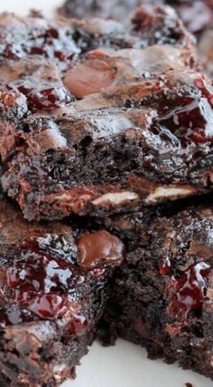 Dark Chocolate Cherry Brownies, but with raspberries instead of cherry.