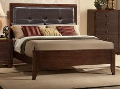 B201 Bedroom Set in Brown Cherry w/Faux Marble Top Casegoods
