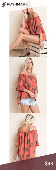 🆕 Pretty Me Up Off-the-Shoulder Floral Top Summer is here and it's time to show off that beautiful tan skin with the Pretty Me Up Floral Off-the-Shoulder Top in Dusty Orange. Features a beautiful floral print, bell sleeve, hi-low hem for a flowy relaxed fit, elastic band for comfort.  100% POLYESTER . . . If you would like to make an offer, please use the OFFER BUTTON. {10% discount on all 2+ orders} . . FOLLOW US✌🏽️ Insta 📸: shop.likenarly Facebook📱: likenarly Website 🌐: likeNarly.com…