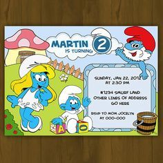 Smurf Birthday Invite Smurfs Invitations Smurfs Birthday