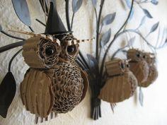cardboard owls... very creative idea