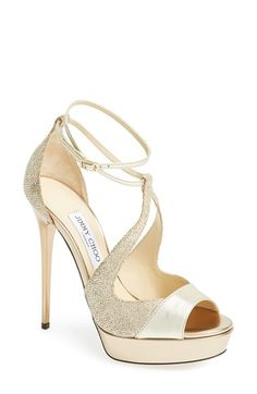 """Free shipping and returns on Jimmy Choo 'Valdia' Ankle Strap Open Top Sandal (Women) at Nordstrom.com. <p><B STYLE=""""COLOR:#990000"""">Pre-order this style today! Add to Shopping Bag to view approximate ship date. You'll be charged only when your item ships.</b></p><br>A strappy open-toe platform pump gets the Midas touch in mixed-finish metallic leather."""
