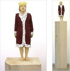 STEPHAN BALKENHOL King 2003 painted wawa wood h. 170 cm