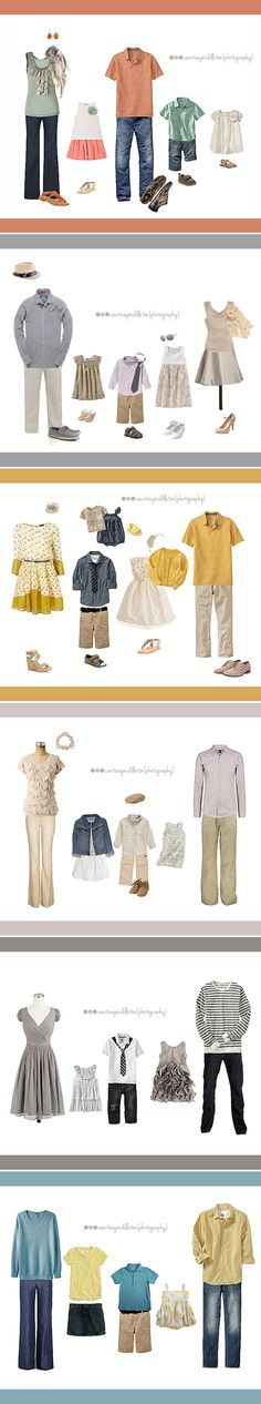 What to wear for a family photo...color combinations