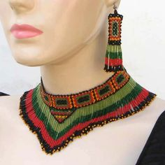 Enclosure For Ceremonial Dances Beaded Bib Necklace Earrings Set Green Red |BEADS CORNER LLC
