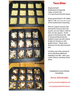 Taco Bites in the Pampered Chef Brownie Pan! Get it here: www.pamperedchef.biz/brittanyshepard