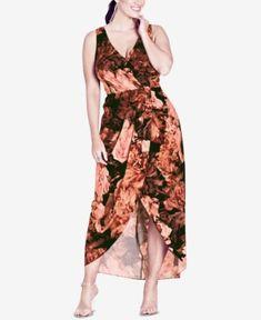 b2d142d39d9 City Chic Trendy Plus Size Printed Wrap Maxi Dress Plus Sizes - Dresses -  Macy s