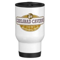 Carlsbad Caverns National Park Travel Mug - This New Mexico Park has 117 caves, the longest of which is over 120 miles long. The Big Room is almost 4,000 feet long, and the caves are home to over 400,000 Mexican Free-tailed BatsCapitol.http://www.zazzle.com/cdandc #nationalparks #carlsbadcaverns #newmexico #vacation #nationalpark #gifts #souvenir #mug