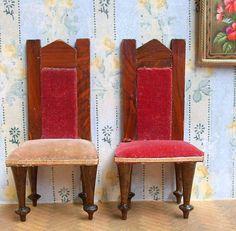 2 kl. Salon Stühle Samtbezug Historismus orig um/vor 1900 Puppenstube RAR | eBay