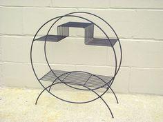 Mid Century Black Metal Wire Round Shelf Plant Stand - Retro Geometric Shape - MCM Circular Metal Rack Holder
