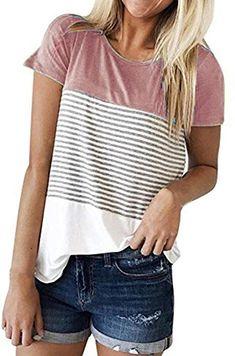 Hevoiok Damen Kurzarm-Shirt Oberteile Sexy Dreifacher Farbblock Streifen  Bluse Neu Frühling Sommer T Shirt 3dfbaeccfb