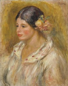 Tête de Madeleine, Pierre-Auguste RENOIR, Painted in 1912-1914, oil on canvas. Renoir has here portrayed Madeleine Bruno, a local village girl who began modeling for him in the early 1910s.