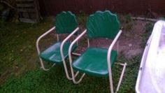 VTG,STEEL LAWN CHAIRS,LOT OF 2,green,tan,rare,must see,design,good cond. Lawn Chairs, Antiques For Sale, Chairs For Sale, Folding Chair, Steel, Ebay, Design, Home Decor, Decoration Home
