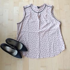 Blush Polka Dot Top Beautifully made Ann Taylor top. Blush pink with black polka dots, black seam details. Sweet gathering at shoulders with clasp at neckline to give a delicate keyhole look. Size XL. NWOT. Ann Taylor Tops Blouses