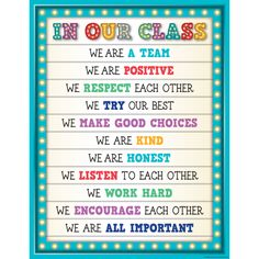 Marquee In Our Class Chart is part of Classroom Convenient, useful learning tools that decorate as they educate! Each chart measures 17 by 22 Related lessons and activities are provided on the ba - Classroom Rules Poster, Classroom Charts, Classroom Board, Classroom Behavior, Future Classroom, Class Rules Poster, Preschool Classroom Rules, Growth Mindset Classroom, Classroom Rules High School