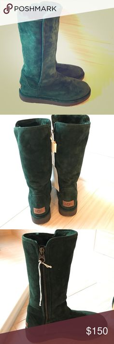 """UGG Abree Tall Zip Verge Boots Beautiful green Suede Uggs. Upper Lamb shearling fur Lining Manmade soles APPROX. MEASUREMENTS Shaft Height: 12"""" Heel height: 1"""" Circumference: 14"""" Round toe - Suede construction - Side zip closure - Genuine lamb fur lining - Approx. 12"""" shaft height, 14"""" opening circumference - Approx. 0.75-1"""" platform - Made in Italy Materials: Suede upper, genuine lamb fur (origin: Spain) lining, manmade sole CONDITION Brand new without box Retails for $279.00. Price is…"""