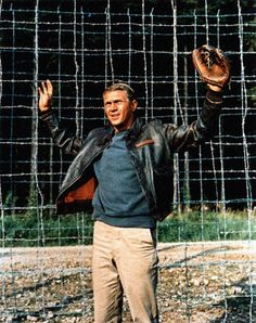 THE GREAT ESCAPE (1963) - Steve McQueen surrenders to Nazi prison guards - Based on novel by Paul Brickhill - Directed by John Sturges - United Artists - Publicity Still.