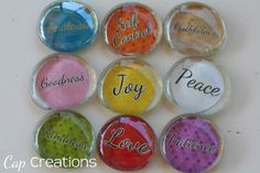 Here& a fun and simple project for custom or personalized magnets. I will be using my Fruit of the Spirit printable to do this tutorial. Gem Crafts, Crafts To Sell, Easy Crafts, Crafts For Kids, Arts And Crafts, Marble Magnets, Glass Magnets, Diy Magnets, Fruit Of The Spirit
