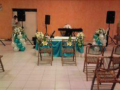 Decoración para boda civil, todo en tono turquesa y blanco