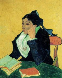 L'Arlesienne (after Gauguin), 1890. Madame Ginoux was the proprietress of the Cafe de la Gare in Aries, which was a place frequented by Van Gogh and Gauguin, and is depicted in Van Gogh's paintings as kind, comforting and almost maternal. This was one of the five paintings that Van Gogh mode of Marie Ginoux, all these paintings reminisce of a happier time for the artist, and look back to the period in 1888 when Gauguin was staying with him in Aries.